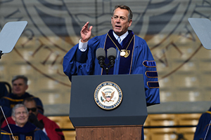 Former Speaker John Boehner addresses the Class of 2016