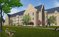 Rendering of the northeast view of Dunne Hall