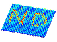 Magnetic force microscopy images of the patterned magnetic charge ice with 'ND'