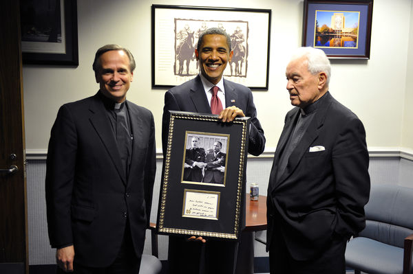 Father Jenkins, President Obama, Father Hesburgh