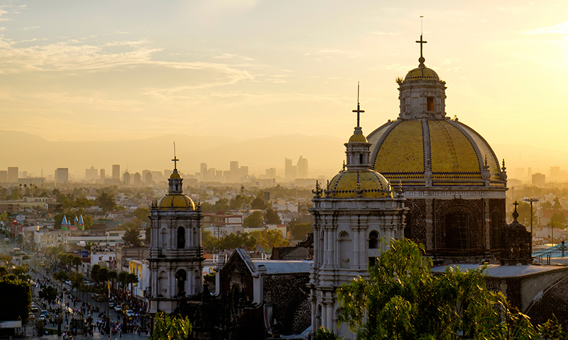 Scenic view at Basilica of Guadalupe with Mexico City skyline