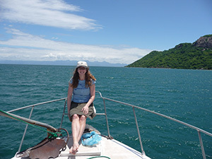 Melissa Berke on Lake Malawi