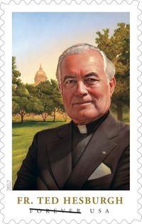 USPS stamp honoring Rev. Theodore M. Hesburgh, C.S.C.