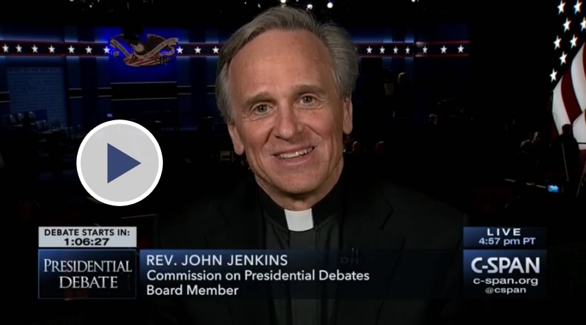 Screenshot of Father Jenkins appearance on C-SPAN