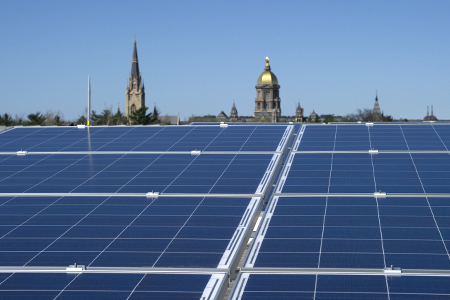 Solar Panels on Notre Dame's Stinson-Remick Hall of Engineering