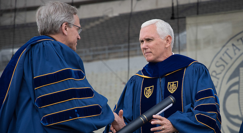 Rev. John I. Jenkins, C.S.C. and Vice President Mike Pence