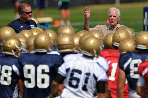 Notre Dame head football coach Brian Kelly and former head football coach Ara Parseghian at Practice at the LaBar Practice Complex August 19, 2010...Photo by Matt CashoreCopyright (2010) Matt Cashore