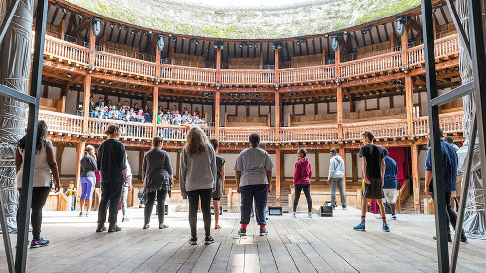The Robinson Shakespeare Company members take a class at the Globe Theatre in London.