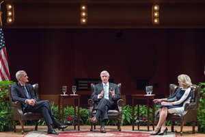 "Denis McDonough and Andrew Card speak with moderator, Maura Policelli during the Notre Dame Forum: ""Views from the West Wing: How Global Trends Shape U.S. Foreign Policy"""