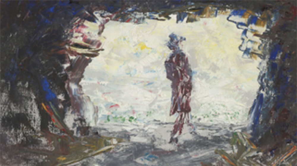 "Jack B. Yeats (Irish, 1871-1957), ""Driftwood in a Cave,"" 1948. On loan from the Donald and Marilyn Keough Family."