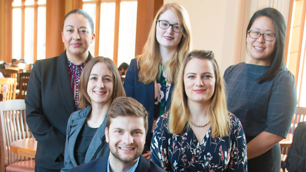 The Impowerus team, clockwise from top left: Veronica Canton, Manon Burns, Carol Li, Katelyn Ringrose, Alexander Ingoglia and Erika Gustin. Photo by Alicia Sachau, Notre Dame Law School.