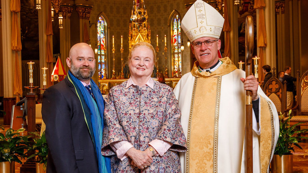 O. Carter Snead, Mary Ann Glendon and Bishop Kevin C. Rhoades