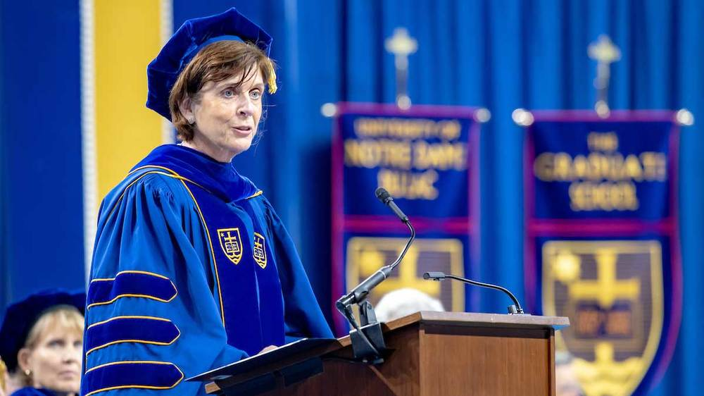 Louise Richardson, vice-chancellor of Oxford University, delivers the commencement address at the Graduate School Commencement ceremony in the Compton Family Ice Arena.