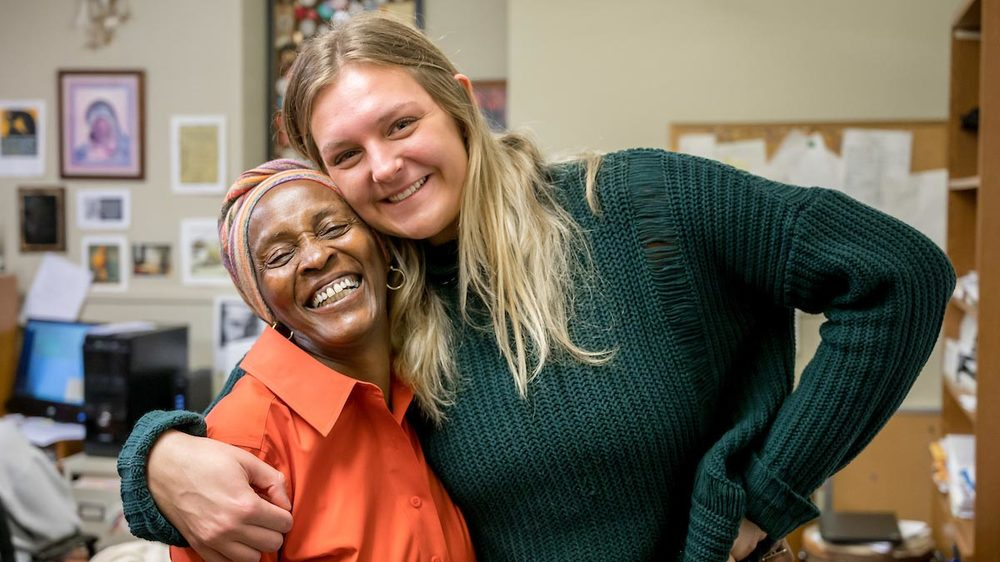 Senior Rebecca Nunge, right, poses for a photo with Debra Stanley, founder of the nonprofit Imani Unidad. Photo by Matt Cashore/University of Notre Dame.