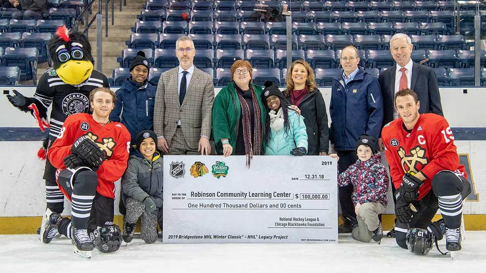 Nhl Blackhawks Support Notre Dame S Robinson Center As Legacy To