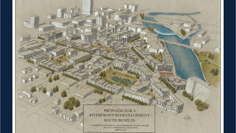 Proposal for a riverfront redevelopment in South Bend, IN.