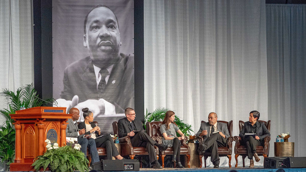 Panel discussion at the 2019 Martin Luther King Jr. Celebration Luncheon. Photo by Matt Cashore/University of Notre Dame.
