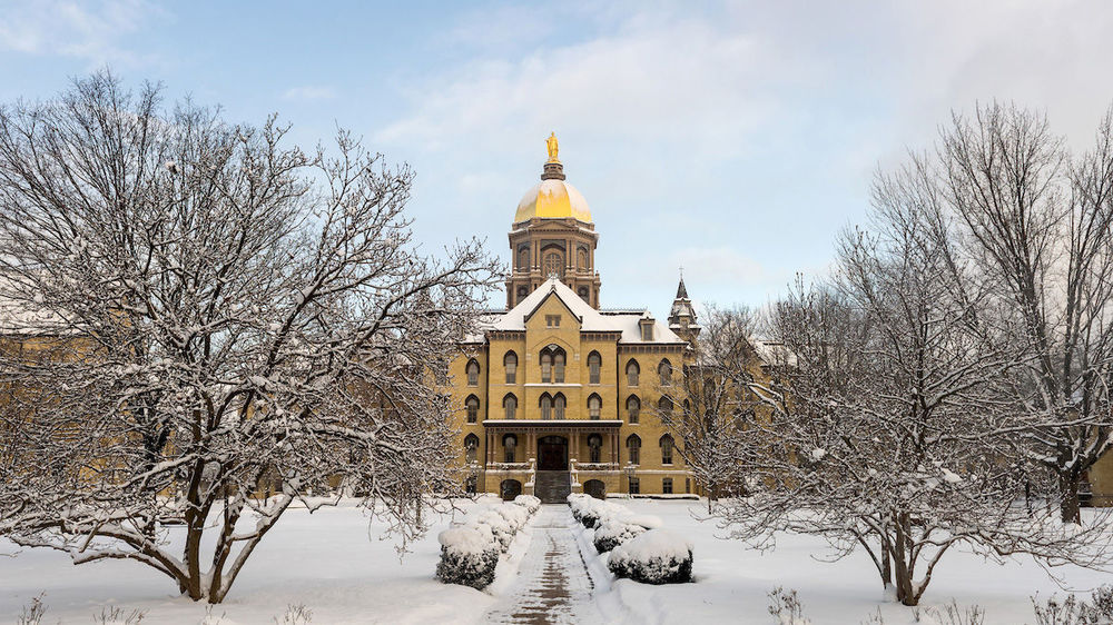 Main Building after a snow shower. Photo by Barbara Johnston/University of Notre Dame.