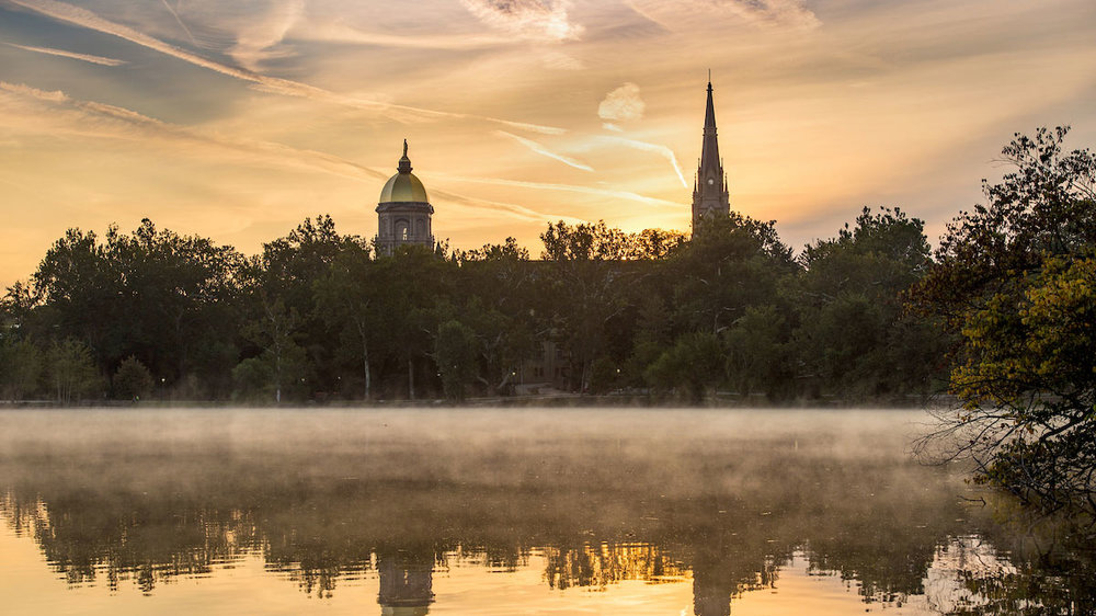 Campus sunrise. Photo by Barbara Johnston/University of Notre Dame.