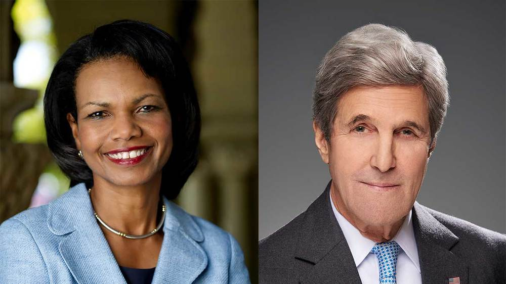 Former Secretaries of State Condoleezza Rice and John Kerry