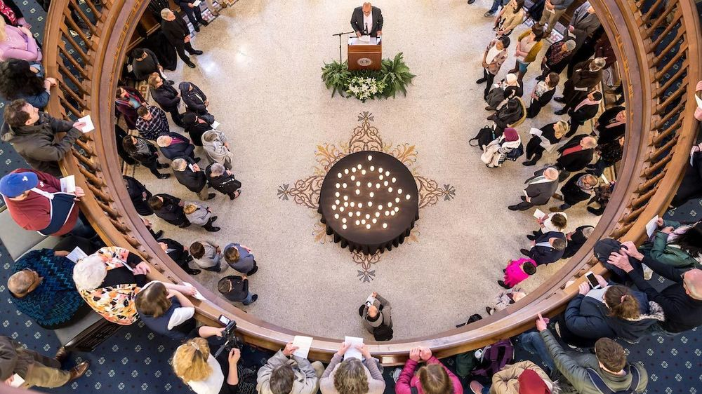Ebrahim Moosa gives a closing reflection at a prayer service in memory of the victims of the Mar. 15 New Zealand mosque attacks. Photo by Matt Cashore/University of Notre Dame.