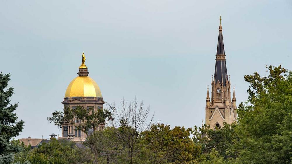 Main Building And Basilica. Photo by Barbara Johnston/University of Notre Dame.
