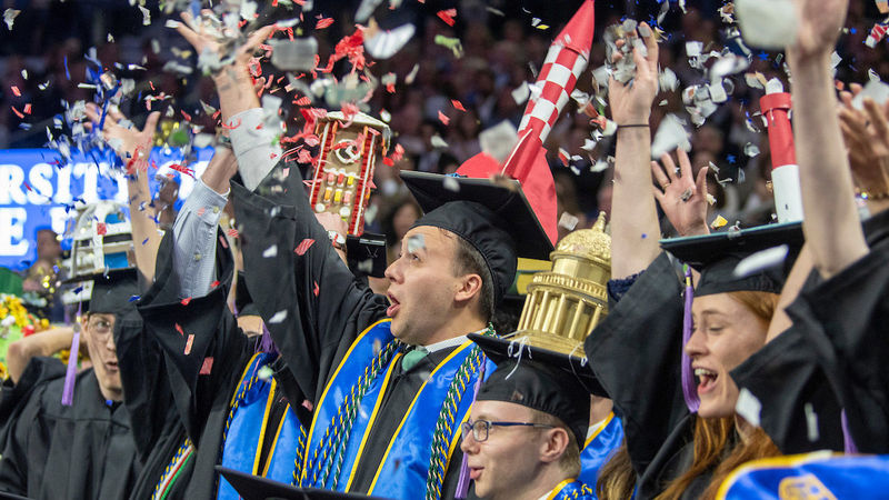School of Architecture graduates celebrate at the close of the 2019 Commencement Ceremony at Purcell Pavilion. Photo by Barbara Johnston/University of Notre Dame.