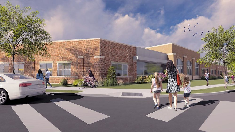The Robinson Community Learning Center (RCLC) exterior rendering
