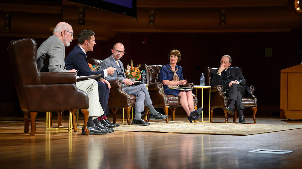 "The 2019-20 Notre Dame Forum: ""Rebuild My Church': Crisis and Response,"" with a discussion on ""The Church Crisis: where Are We Now?"" held at the DeBartolo Performing Arts Center. Photo by Barbara Johnston/University of Notre Dame."