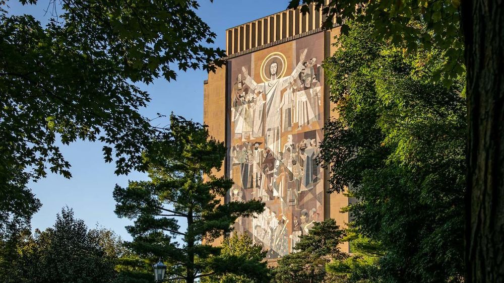 Word of Life mural on Hesburgh Library, commonly known as Touchdown Jesus. Photo by Matt Cashore/University of Notre Dame.