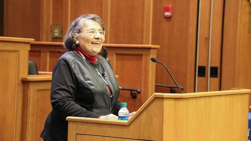Diane Nash speaks at Notre Dame Law School. Photo by Alicia Sachau.