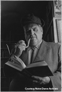"The Hesburgh Library's Eric Gill and G.K. Chesterton collections were acquired from John Bennett Shaw '37, here dressed as Sherlock Holmes. Shaw also amassed one of the world's largest collections of ""Sherlockiana,"" now housed in the University of Minnesota. The discovery of an unpublished essay by Michael J. Crowe in Shaw's Sherlock Holmes collection led to the recent publication of Crowe's eighth book, ""Ronald Knox and Sherlock Holmes: The Origins of Sherlockian Studies."""