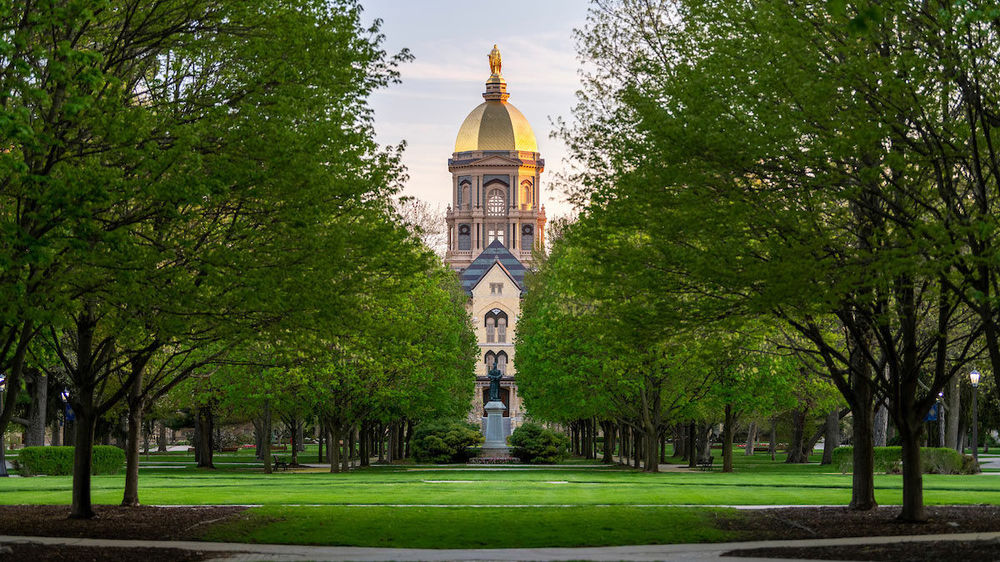 The Main Building just after sunrise. Photo by Barbara Johnston/University of Notre Dame.