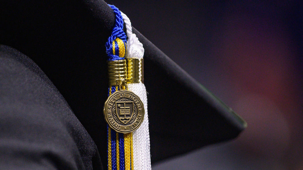 Tassel at the Notre Dame Commencement ceremony. (Photo by Matt Cashore/University of Notre Dame)