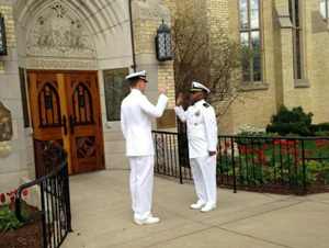 Tom Catalano commissioning near the east entrance of the Basilica of the Sacred Heart, University of Notre Dame, 2014