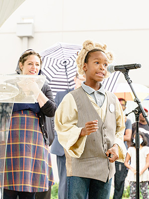 Martez Cuevas, a fourth-grader at Kennedy Academy in South Bend and a member of the Robinson Shakespeare Company.