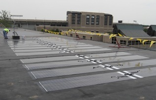 Solar paneling on the roof of Fitzpatrick Hall of Engineering