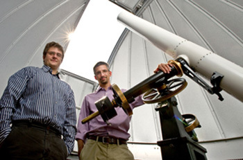 Astrophysicists Nicholas Lehner and Chris Howk with Napoleon Telescope