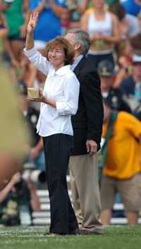 Beth Holtz is recognized on the field at Notre Dame Stadium on Sept. 3, 2011
