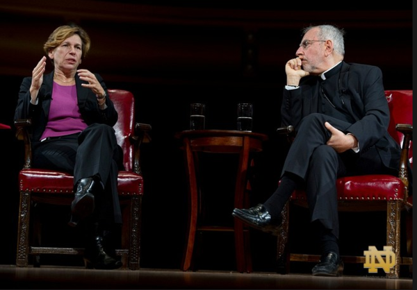 Randi Weingarten (left) and Bishop Gerald F. Kicanas (right) at the Notre Dame Forum