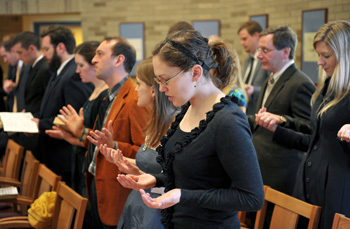 Prayer service in Malloy Hall