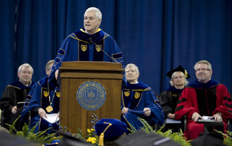 Thomas Quinn, M.D., professor and director, Johns Hopkins' Center for Global Health, delivers the commencement address during the Graduate School Commencement Ceremony