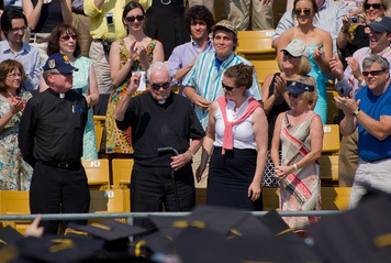 Father Hesburgh is recognized in the stands at Commencement 2012