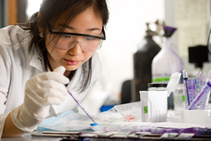 Undergraduate Sue Yi at work on NPC in a laboratory
