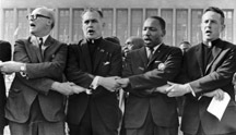 Father Hesburgh, second from left, stands with Martin Luther King Jr. and others in Chicago, 1964
