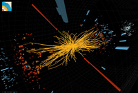 A candidate event for the Higgs boson decaying to two photons (thick red lines) detected by the CMS detector