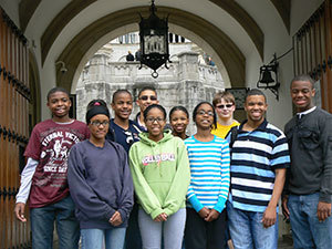 The Robinson Center LEGO I-Robotics team poses at a castle in Germany
