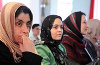 Three Afghan women meet to discuss plans for social services