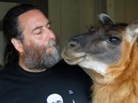 Matt Ravosa with a llama
