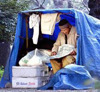 A man living in a tent